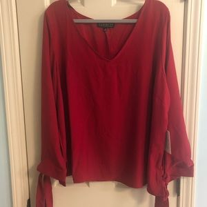 Beautiful Eloquii red blouse with tie sleeves